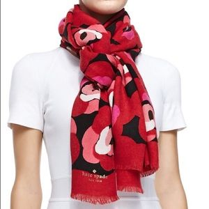 Kate Spade New York deco rose-print knit scarf